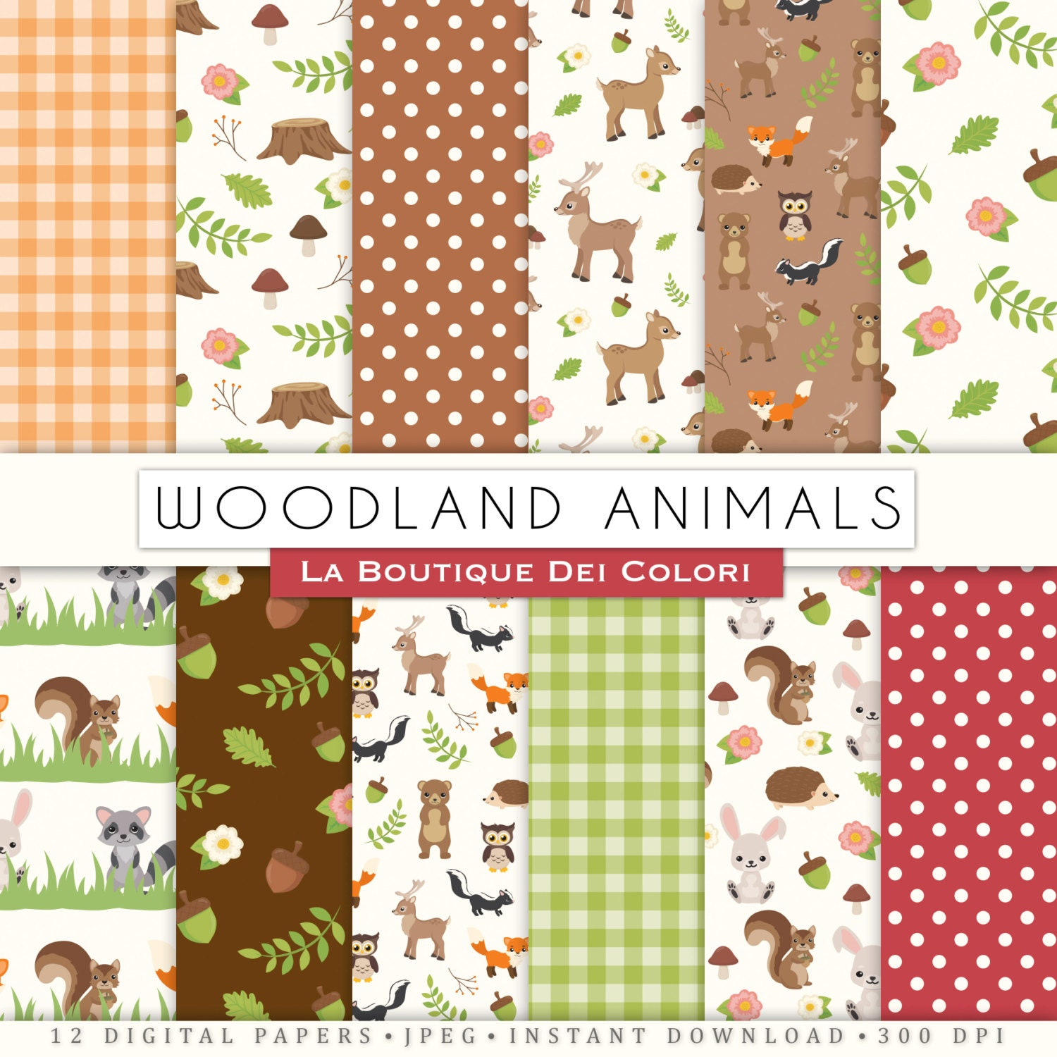 Cute Woodland Animals Digital Paper, Fox, Bear, Deer, Squirrel, Forest scrapbook backgrounds, Seamless patterns for commercial use clipart