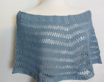 Hand Knit Shrug. Blue Capelet. Drop Stitch Short Poncho. Ships Free in the USA