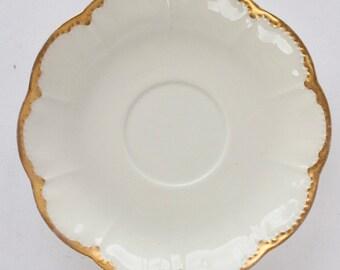 Haviland Limoges RANSON Saucer White Scalloped Edge Gold