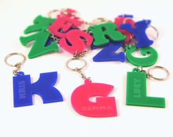 Bespoke Personalised Name & Initial Keyring - Laser-Cut Acrylic Keyrings, Initial Keyrings, Bespoke Keyrings, Name Keyrings