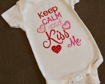 Keep calm and kiss me, valentine's day shirt/onesie