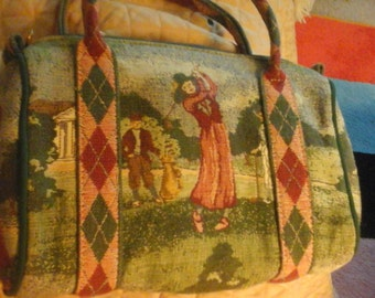 Vintage 80s preppy Lady Golfer Tapestry Bag- purse- plaid