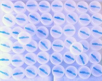 Lot of 50 translucent Glacier Smartwater plastic bottle caps for crafts