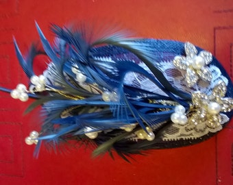 Navy and white fascinator
