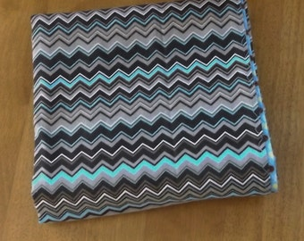 Aqua and Brown Chevron with Dots - Extra Large Reversible Flannel Receiving or Swaddling Blanket, Double Sided Crib Blanket