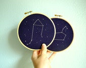 Set of Two - Zodiac Constellation Embroidery Hoop Art, Astrology Wall Hanging, Zodiac Gift, Custom Constellation Gifts