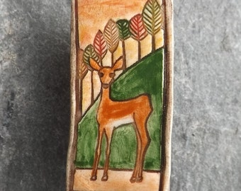 Ceramic Woodland Deer brooch
