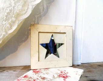 Primitive STAR Mirror-Rustic Wooden Frame-Prim Home Decor-Distressed-Chippy Ivory Frame-Country Mirror-Farm Chic Decor-Orphaned Treasure