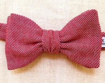 Crimson denim bowtie