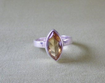 Vintage Sterling Silver Faceted Citrine Ring Size 7 US and N 1/2 UK & Australia
