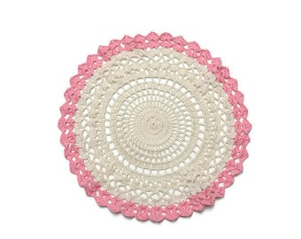 Pink Cream Crochet Doily, Table decoration, Wedding Decor, Crochet Doily