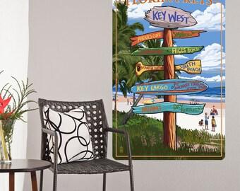 Florida Keys Beach Signpost Wall Decal - #60879