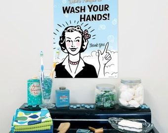 Wash Your Hands Steel Bathroom Sign - #56051