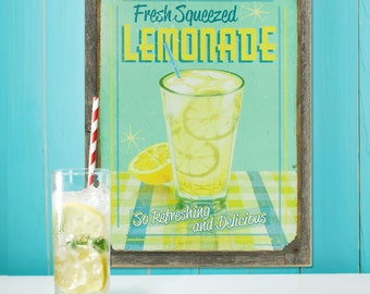 Fresh Squeezed Lemonade Framed Metal Sign - #72648