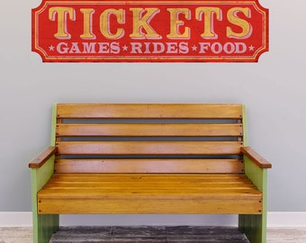 Tickets Games Rides Food Wall Decal - #52291
