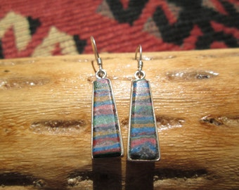 Rainbow Agate and Sterling Dangle Earrings