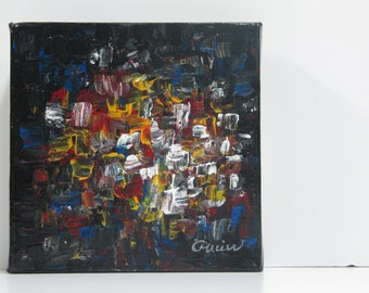 Original abstract painting, acrylic on canvas gallery, 6'' x 6''