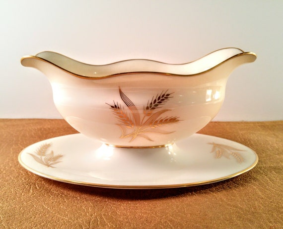 Lenox Wedding Gifts: Vintage Lenox Harvest Wheat R441 Gravy Boat With Attached