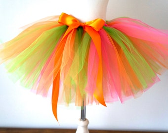Girl's Tutu - Orange Pink and Green Tutu