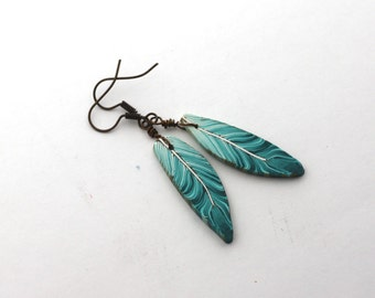 Teal Feather Earrings, Blue Green Bird Feathers, Polymer Clay Jewelry, Antique Brass Tone Jewellery