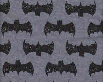 Black Batman on Grey Knit Fabric