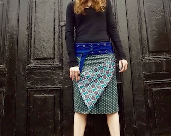SALE- Free Size Reversible Cotton Knee Length Wrap Skirt on blue flower and  green Polka  Print