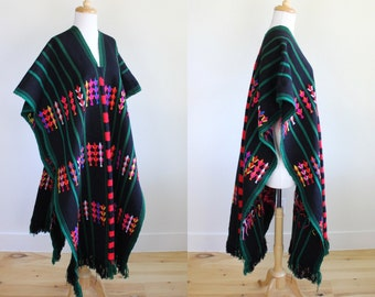 Vintage 1970s Hand Embroidered Mexican Huipil Poncho
