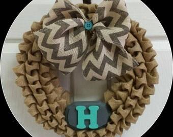 Burlap Wreath, Bubble Burlap, Chevron, Initial, Door Decor, Monogram Wreath, Birthday Gift, Wedding, All Seasons Wreath, Door Hanger