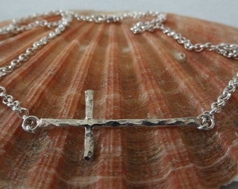 Sterling Silver Sideways Cross Necklace With Cable Chain