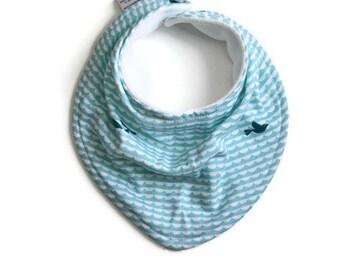 Organic Baby bandana bib, baby bib, bandana bib, scarf bib, baby shower gift, baby boy bib, drool bib, bib, blue waves, blue wave/whale bib