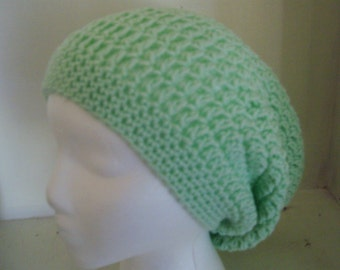 Mint Slouchy Beanie, Womens Crochet Slouchy Hat, Slouchy Winter Hat, Mint Green Crochet Beanie, White Crochet Hat