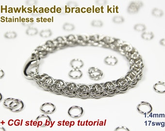 Hawkskaede Bracelet Kit, Chainmaille Kit, Stainless Steel, Jump Rings, Chainmail Bracelet Kit, Chainmail Tutorial, Hawkskaede Tutorial