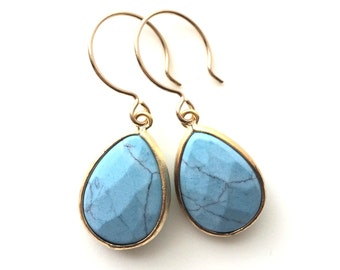 Blue Turquoise Earrings,  Blue Earrings, Light Blue Turquoise Gold Earrings