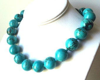 Turquoise Necklace, Chinese Turquoise Necklace, Bold and Chunky Turquoise