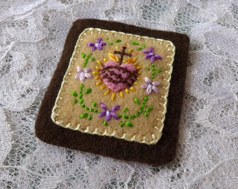 Sacred Hearts with Violets (Fawn) - Hand Embroidered Brown Scapular