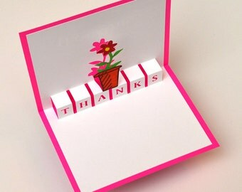 Pop-Up Thank You Card - Flower Pot Pink Color