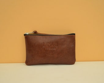 Leather Cosmetic Pouch Wallet JUNE SMALL brown