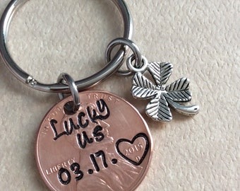 Lucky us penny  penny with your favorite  year with a 4 leaf clover charm keyring