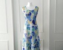 Afibel 1990's vintage dress 90's floral print dress 90's vintage summer dress 90's vintage floaty dress zip fastening size 12