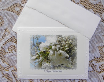 ANNIVERSARY Card by Pam of Pam's Fab Photos; blank inside handmade photo stationary with printed Script-Style text on embossed card stock