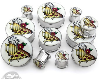 Pizza & Beer Tattoo Steel Plugs Sizes / Gauges (00G - 1 Inch)