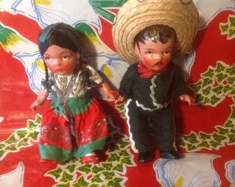 Vintage pair of Mexican Folk art clay dolls