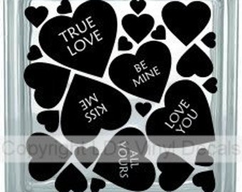 Conversation Hearts - Valentine's Day Vinyl Lettering for Glass and Wood Blocks - Craft Decals