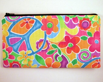 Peace Pencil Case, Pencil Pouch, Flowery Zipper Pouch, Make Up Bag, Gadget Bag