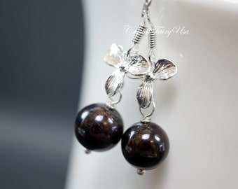 Genuine Garnet Earrings - Handmade 925 Sterling Silver Stone Earrings - Silver Flower Earrings - Root Chakra Healing - Orchid Earrings