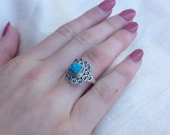 Vintage Turquoise Filigree Scroll Ring - Sterling Silver Turquoise Ring - Sterling Silver Filigree Ring - Vintage Turquoise Ring