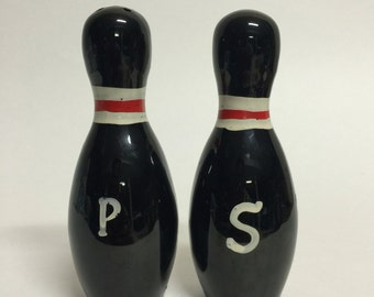 Vintage Black Bowling Pin Salt and Pepper Shakers, Made in Japan