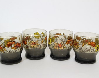 Vintage Flower Drinking Glasses, Gray Glass Orange Flowers, Bar ware