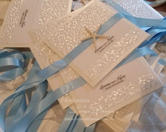 LUXURY Beach Wedding Invitations, Seaside, wedding abroad. Starfish pocketfold 25 Luxury wedding invitation set. Beach wedding Invites pack