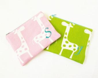 Makeup bags - Set of 2 - Monogrammed Cosmetic Bag - Giraffe Pouch - Bridesmaid clutch bags - Small